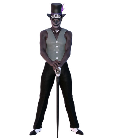 3D rendered voodoo shaman on white background isolated
