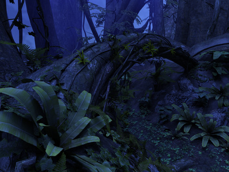 rendered: 3D rendered illustration of night deep forest