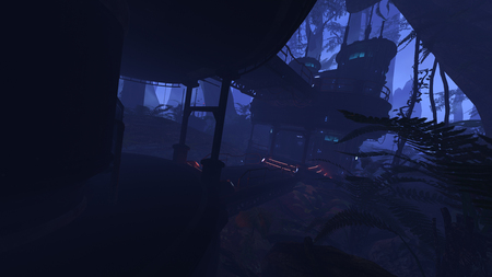 3D rendered illustration of sci-fi outpost in deep jungle