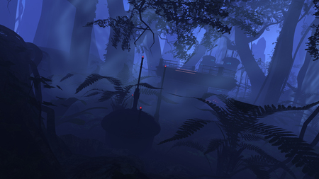 rendered: 3D rendered illustration of sci-fi outpost in deep jungle