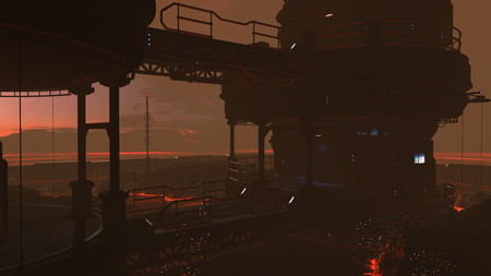 3D rendered illustration of sci-fi lava factory on lava planet