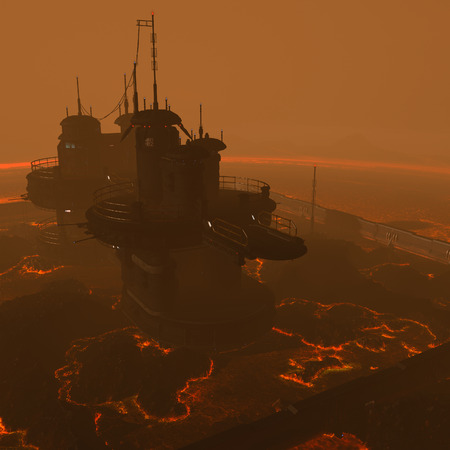 rendered: 3D rendered illustration of sci-fi lava factory on lava planet