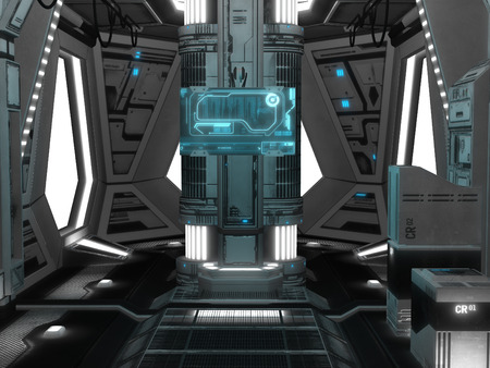 rendered: 3D rendered illustration of sci-fi spaceship interior Stock Photo
