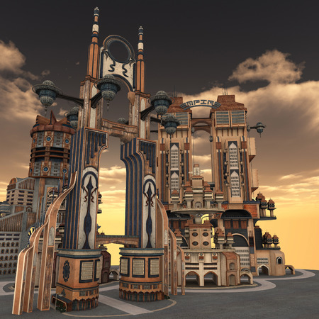 rendered: 3D rendered illustration of ancient city during sunset