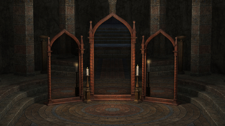 3 D レンダリングされたミラーと神秘的な地下の部屋の図