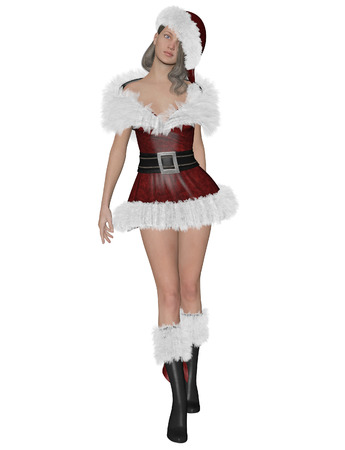 3D rendering illustration of pretty Santa�´s girl on white background isolated Stock Photo