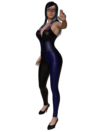 3D rendering illustration of sexy young woman in corset on white background isolated