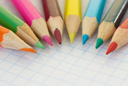 Colored wooden crayons. Colorful drawing pencils.