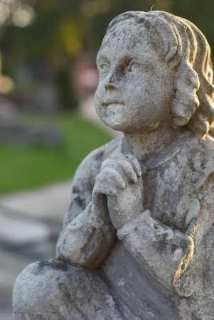 200 years old emetery stone angel city Pultusk Poland. Stock Photo