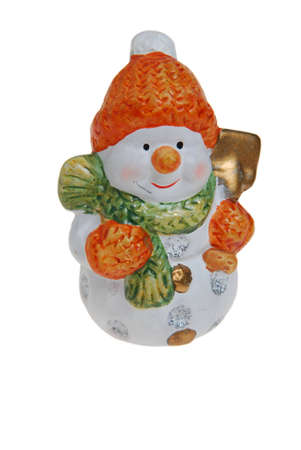 Snowman - Christmas Decoration isolated on white background. Stock Photo