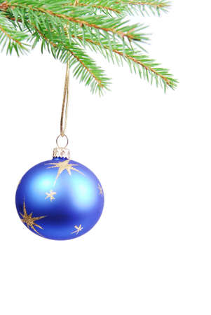 Blue Christmas ball on white background. Stock Photo