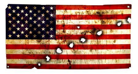 continente americano: Bandera perforadas, w. agujeros de bala - grunge Foto de archivo