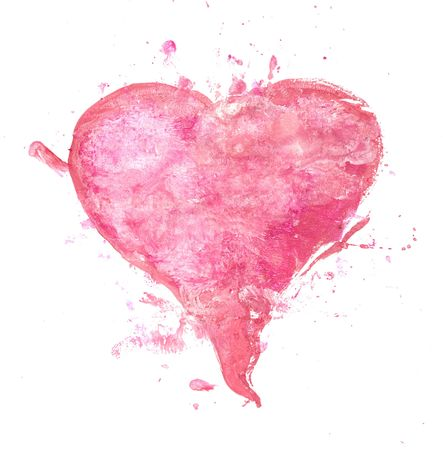 trashy: A painted pink heart - grungy and trashy Stock Photo
