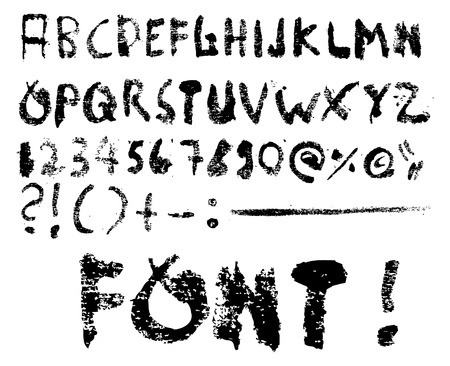 grunge vector: Trashy vector font plus some special character - Grunge -