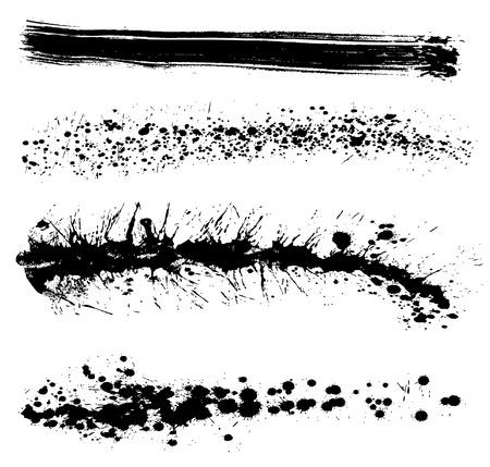 Conjunto de los trazos de pintura grungy - elementos de dise�o