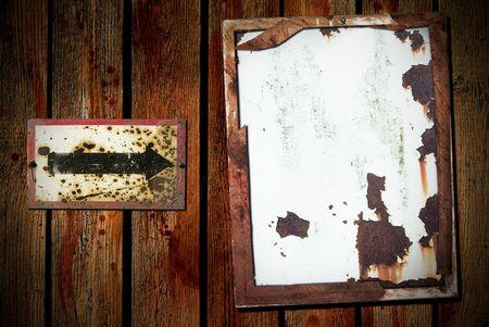 grunge background metal shields, arrow, free copy space photo