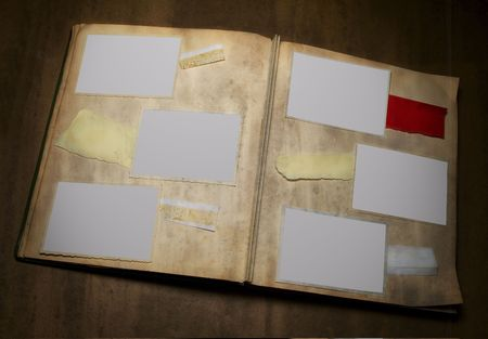 deckle: A grungy photo album with four deckle edged picture frames and copy space - - grunge - -
