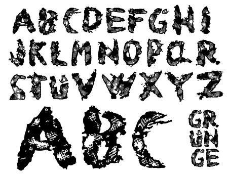 spattered: desgarrado grunge font - cada personaje se agrupa para mejor manejo