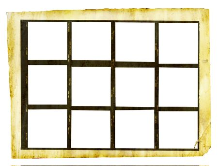 grungy printed contact sheet medium format with 12 picture frames, isolated on white background