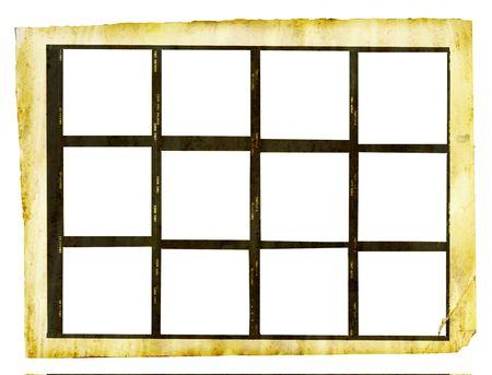 ro�oso hoja impresa en formato de contacto medio con 12 marcos de foto, aisladas sobre fondo blanco