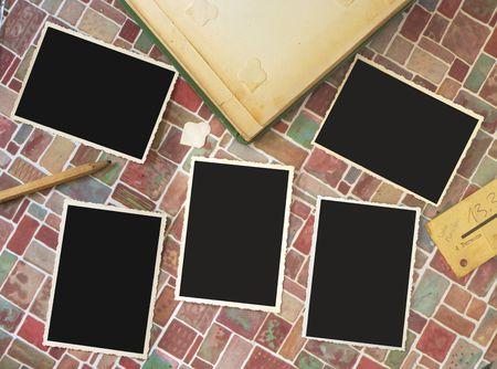 scuff: vintage deckle edge picture frames, free copy space, album, pencil, ticket, grungy