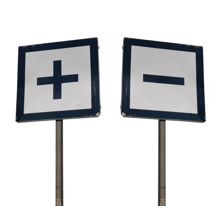 minus: Two signs with plus and minus isolated on white background
