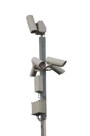 close circuit camera: 5 observation cameras on a pole, isolated on white background Stock Photo