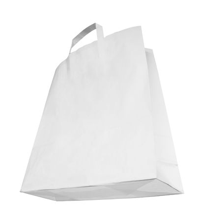 paperbag: Blank white paper bag, special perspective, isolated on white background,free copy space Stock Photo