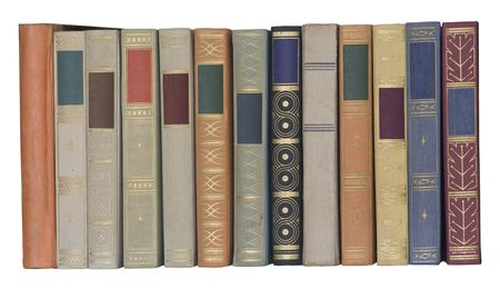 vintage books in a row, isolated on white backgrond, clipping path, empty labels with free copy space Stock Photo - 5579496