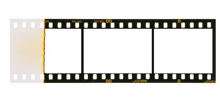 35 mm: 35 mm filmstrip, picture frames,isolated on white background, ensd of film with overexposure on left side
