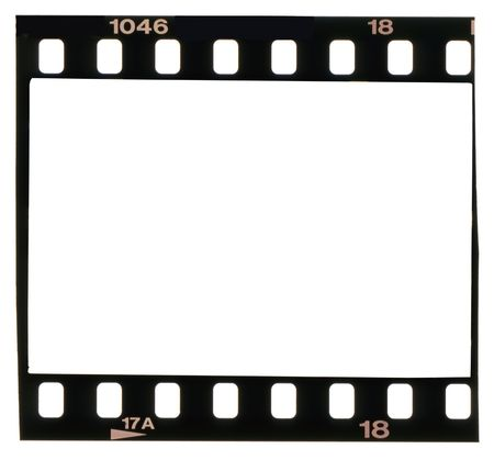 35: tira de 35 mm, marco de imagen, aislado sobre fondo blanco,  Foto de archivo