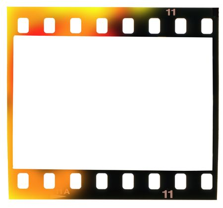 incidence: 35 mm filmstrip, picture frame,with light incidence, isolated on white background,