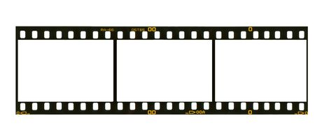35: 35 mm filmstrip, picture frames,isolated on white background