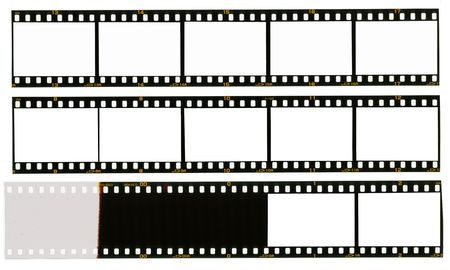 35 mm filmstrip, picture frames, isolated on white background, end of film with overexposure on left side Stock Photo