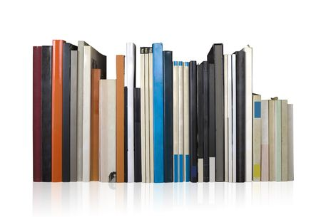 various books in a row photo