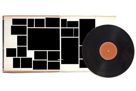 Fold out vintage record sleeve and record, blank picture frames, blank label, free copy and picture space photo