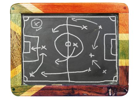 tactic: Soccer tactic diagramm on a grungy chalkboard Stock Photo