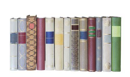 libros en una fila, aislados en backgrond blanco, vac�an etiquetas con espacio de copia gratuita