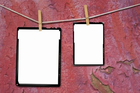 Large format film frames, against grungy background, empty frames, free picture or copy space Stock Photo - 7978336