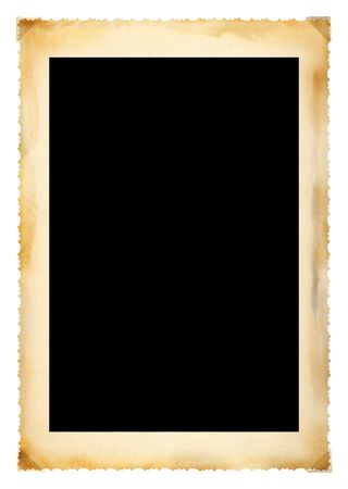 frayed: Vintage photographic deckle edged picture frame, large border, free copy space