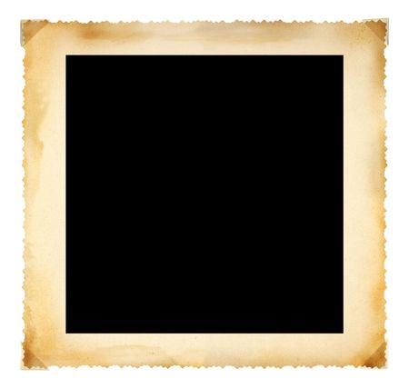 photo corner: Vintage photographic deckle edged picture frame, large border, free copy space