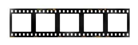 35 mm filmstrip, 5 square blank picture frames, Stock Photo