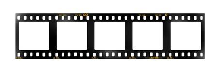 tira de película de 35 mm, 5 marcos cuadrado en blanco,  Foto de archivo