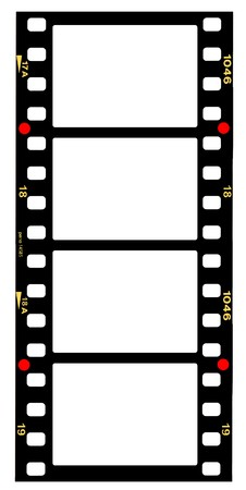 strips: 35mm format movie filmstrip, picture frames,standard film picture frames,with free copy space,isolated on white background
