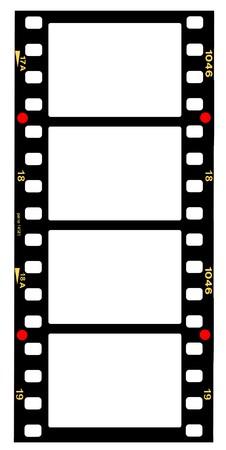 carrete de cine: tira de pel�cula de 35 mm formato de pel�cula, prendedores, prendedores de pel�cula est�ndar, con espacio libre copia, aislados en fondo blanco