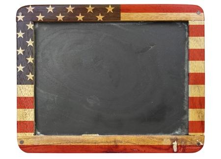 vintage school blackboard,stars and stripes, free copy space Stock Photo - 8440536