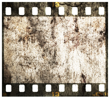 35 mm: 35 mm filmstrip, picture frame isolated on white background
