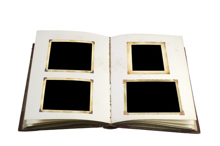 yellow photo: Opened book with blank vintage picture frames free picture space