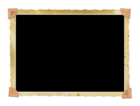 deckle: blank deckle edged picture frame with photo corners Stock Photo