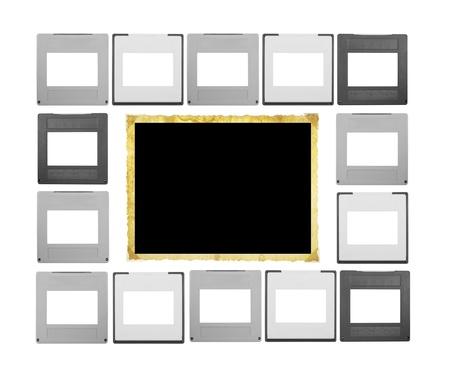 conjunto de diapositivas de 35 mm y un marco de imagen cosecha, espacio libre para tus fotos